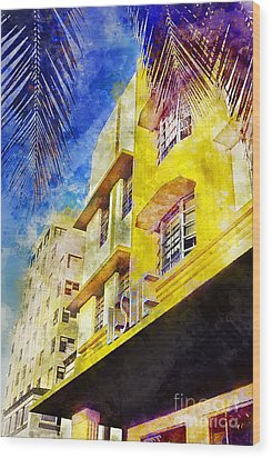 The Leslie Hotel South Beach Wood Print