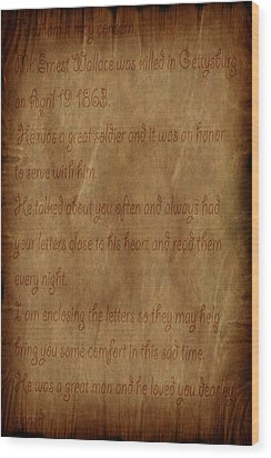 The Letter Home Wood Print by Evelyn Patrick