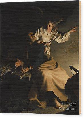 The Liberation Of Saint Peter Wood Print by Abraham Bloemaert