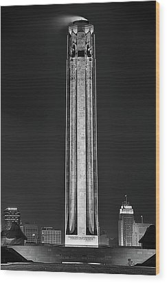 Wood Print featuring the photograph The Liberty Memorial Black And White by JC Findley