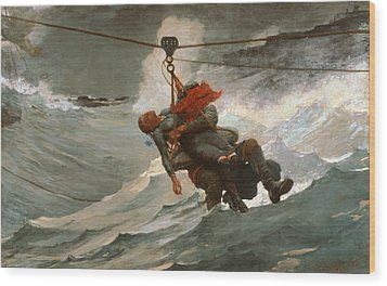 The Life Line Wood Print by Winslow Homer