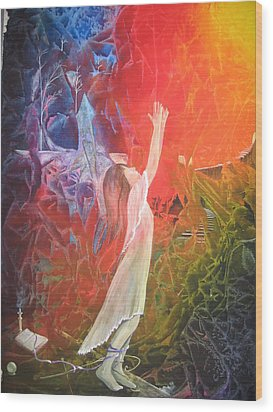 Wood Print featuring the painting The Light by Jackie Mueller-Jones