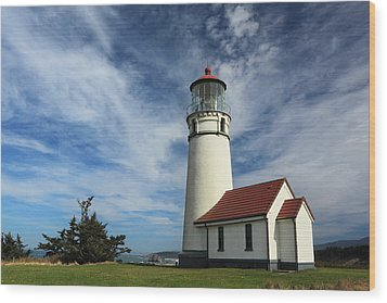 The Lighthouse At Cape Blanco Wood Print