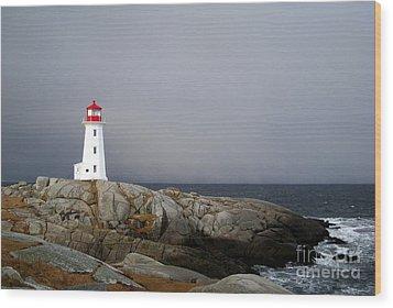 The Lighthouse At Peggys Cove Nova Scotia Wood Print by Shawna Mac