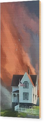 Wood Print featuring the digital art The Lighthouse Keeper's House by Lois Bryan