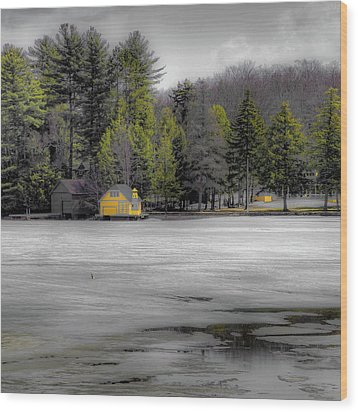 Wood Print featuring the photograph The Lighthouse On Frozen Pond by David Patterson