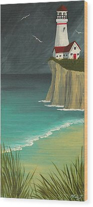 The Lighthouse On The Cliff Wood Print