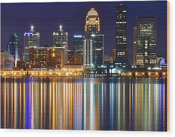 The Lights Of A Louisville Night Wood Print