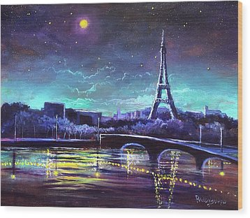 The Lights Of Paris Wood Print by Randy Burns