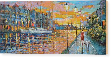 Wood Print featuring the painting The Lights Of The Stockholm by Dmitry Spiros