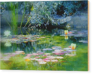 The Lily Pond I Wood Print by Lynn Andrews