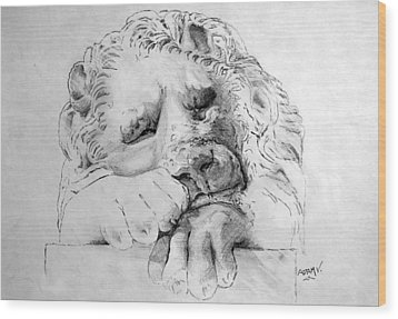 The Lion Wood Print