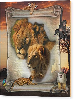 The Lion King From Africa Wood Print by Nadine May