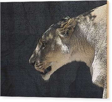 The Lioness Wood Print by Ernie Echols
