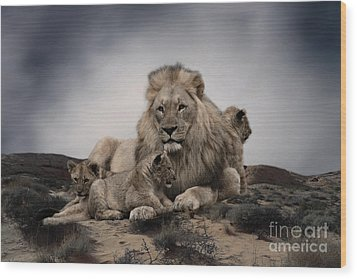 Wood Print featuring the photograph The Lions by Christine Sponchia