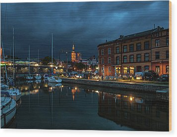 The Little Harbor In Stralsund Wood Print by Martina Thompson