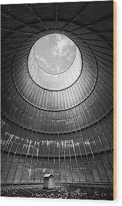 Wood Print featuring the photograph the little house inside the cooling tower BW by Dirk Ercken