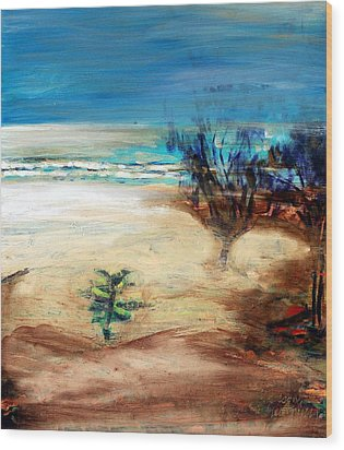 Wood Print featuring the painting The Little Pine Tree by Winsome Gunning