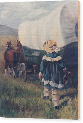 The Little Pioneer Western Art Wood Print by Kim Corpany