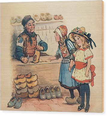 The Little Wooden Shoe Maker Wood Print by Reynold Jay