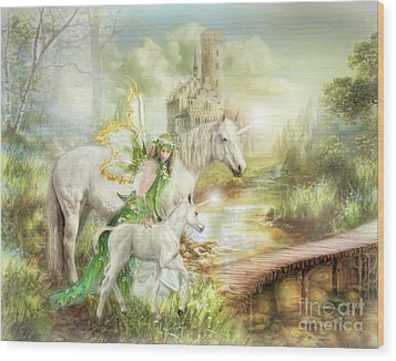 Wood Print featuring the digital art  The Littlest Unicorn by Trudi Simmonds