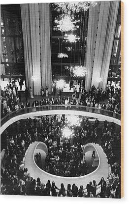 The Lobby Of The Metropolitan Opera Wood Print by Everett