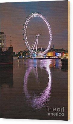 The London Eye Wood Print by Nichola Denny