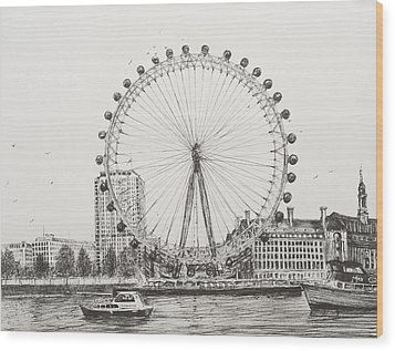 The London Eye Wood Print by Vincent Alexander Booth