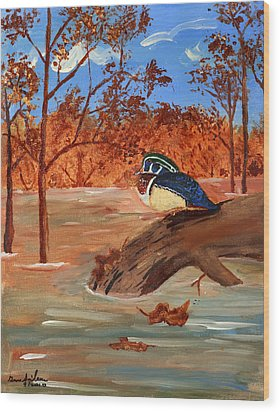 The Lone Duck Wood Print by Swabby Soileau