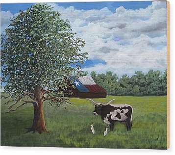 Wood Print featuring the painting The Lone One Plus 2 by Suzanne Theis