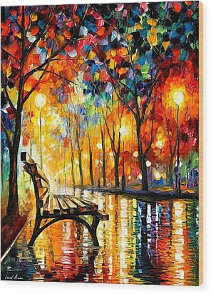 The Loneliness Of Autumn Wood Print by Leonid Afremov