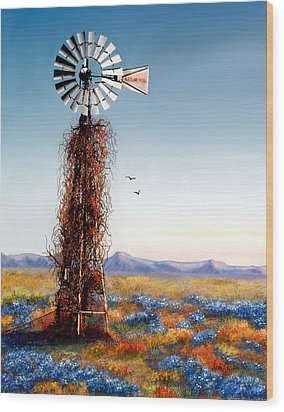 Wood Print featuring the painting The Lonely Windmill by Sena Wilson