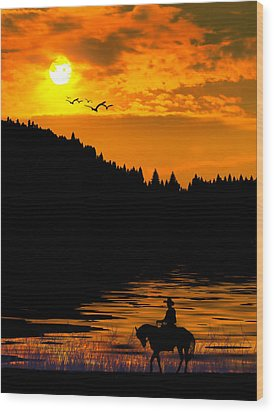 Wood Print featuring the photograph The Lonesome Cowboy by Diane Schuster