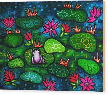 The Lonesome Frog Wood Print by Brenda Higginson