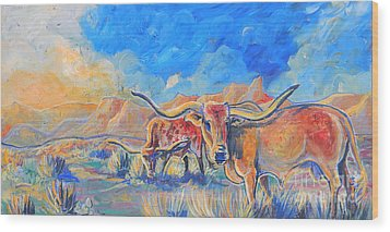 Wood Print featuring the painting The Longhorns by Jenn Cunningham