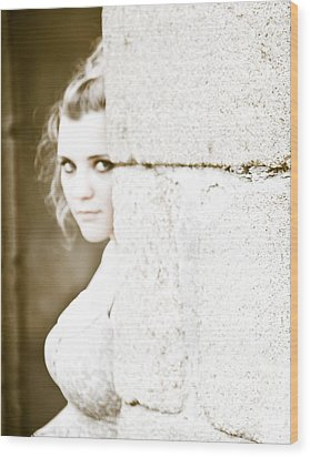 The Look Behind The Pillar Wood Print by Loriental Photography