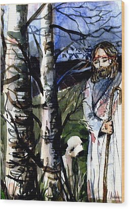 The Lord Is My Shephard Wood Print by Mindy Newman