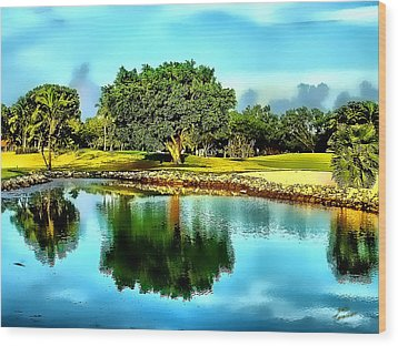 Wood Print featuring the photograph The Love Of Golf by Kathy Tarochione