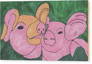 The Love Piglets Wood Print by Golden Dragon