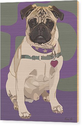 The Love Pug Wood Print by Kris Hackleman