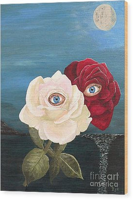 The Lovers  Roses By Night Wood Print by Eric Kempson