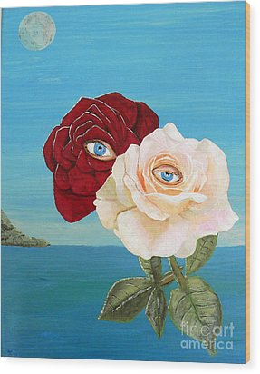 The Lovers  Roses Wood Print by Eric Kempson