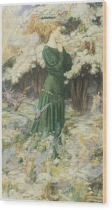 The Lover's World Wood Print by Eleanor Fortescue-Brickdale
