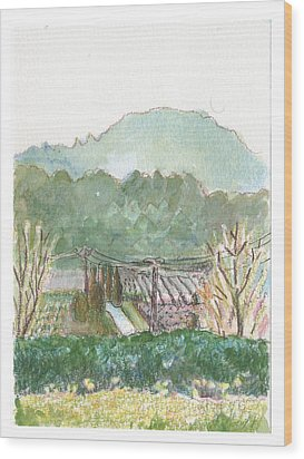 Wood Print featuring the painting The Luberon Valley by Tilly Strauss