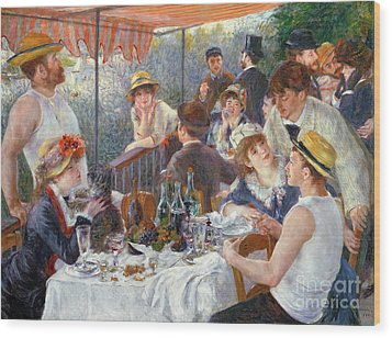 The Luncheon Of The Boating Party Wood Print by Pierre Auguste Renoir