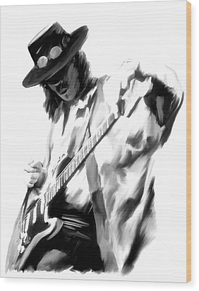 The Maestro Stevie Ray Vaughan Wood Print by Iconic Images Art Gallery David Pucciarelli