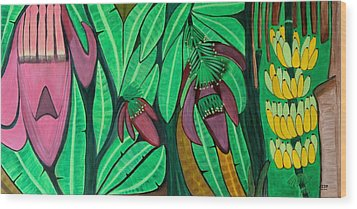 Wood Print featuring the painting The Magic Of Banana Blossoms by Lorna Maza