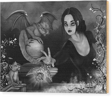 The Magic Rose - Black And White Fantasy Art Wood Print