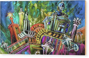 The Magical Rooftops Of Prague 02 Wood Print by Miki De Goodaboom