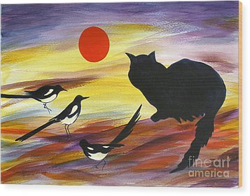 The Magpies Tell Meow Of Red Wood Print